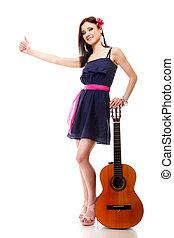 καλοκαίρι , αντίχειραs , απομονωμένος , πάνω , κιθάρα , κορίτσι , αποδεικνύω