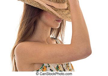 καλοκαίρι , αυτήν , νέος , απομονωμένος , εκτενής αντικρύζω , μαλλιά , φόντο , πορτραίτο , σκεπαστός , κορίτσι , καπέλο , άσπρο