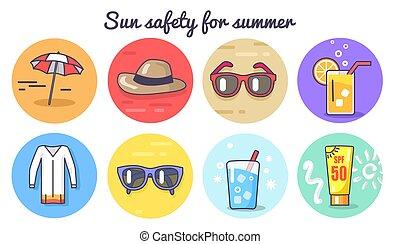 καλοκαίρι , αφίσα , εικόνα , μικροβιοφορέας , ασφάλεια , ήλιοs