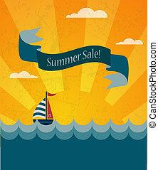 καλοκαίρι , αφίσα , πώληση , εικόνα , infographic, retro
