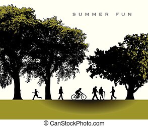 καλοκαίρι , γοητευτικός , πάρκο , σκηνή , ώρα