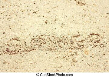 καλοκαίρι , γραμμένος , παραλία , λέξη , sand.