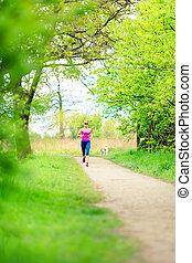 καλοκαίρι , γυναίκα , δρομέας , πάρκο , τρέξιμο , κάνω σιγανό τροχάδην