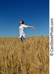 καλοκαίρι , γυναίκα , σιτάρι , νέος , πεδίο