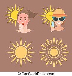 καλοκαίρι , γυναίκα , illustration., βαθμός , άνθρωποι , εξαρτήματα , μικροβιοφορέας , avatar, ανθρώπινος , εγκαύματα από τον ήλιο , παραλία , μαύρισμα