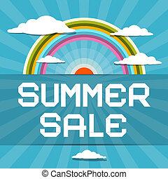 καλοκαίρι , θαμπάδα , ήλιοs , πώληση , εικόνα , retro , ουράνιο τόξο