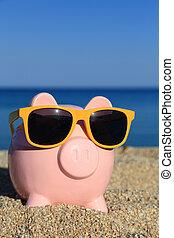 καλοκαίρι , κουμπαράς, με , γυαλλιά ηλίου , στην παραλία