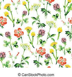 καλοκαίρι , κρασί , pattern., seamless, νερομπογιά , wildflowers , retro , φόντο , άνθινος