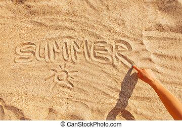 καλοκαίρι , λέξη , sand.