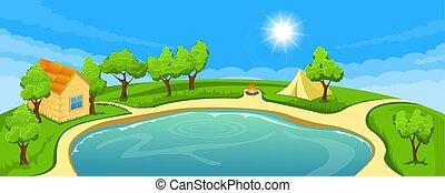 καλοκαίρι , λίμνη , τοπίο