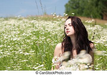 καλοκαίρι , λιβάδι , ομορφιά , νέος , γυναίκα , πορτραίτο , ...