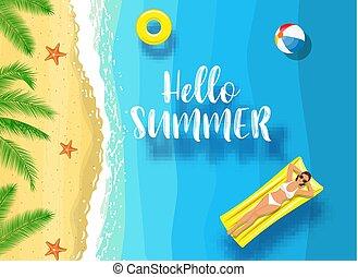 καλοκαίρι , μήνυμα , ναυτικό , γειά , φόντο.