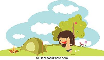 καλοκαίρι , μικροβιοφορέας , illustration., κατασκηνώνω