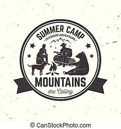 καλοκαίρι , μικροβιοφορέας , illustration., camp.