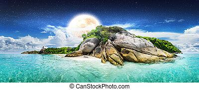 καλοκαίρι , νύκτα , λιμνοθάλασσα , νησί