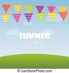 καλοκαίρι , ουρανόs , σημαίες , φόντο , ώρα , πάρτυ