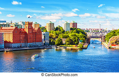 καλοκαίρι , πανόραμα , από , στοκχόλμη , σουηδία
