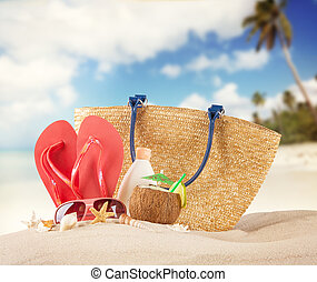 καλοκαίρι , παραλία , με , κόκκινο , πέδιλα , και , αντικοινωνικότητα