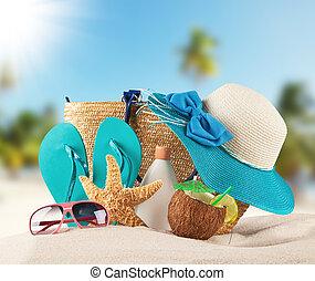 καλοκαίρι , παραλία , με , μπλε , πέδιλα , και , αντικοινωνικότητα