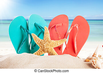 καλοκαίρι , παραλία , με , πέδιλα , και , αντικοινωνικότητα