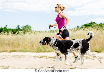 καλοκαίρι , περίπατος , γυναίκα , φύση , δρομέας , σκύλοs , τρέξιμο