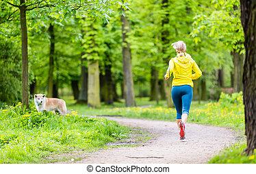 καλοκαίρι , τρέξιμο , γυναίκα , πάρκο