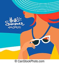 καλοκαίρι , φόντο , με , εξαίσιος γυναίκα , περίγραμμα , σε , ο , παραλία