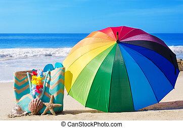 καλοκαίρι , φόντο , με , ουράνιο τόξο , ομπρέλα , και , τσάντα παραλίας