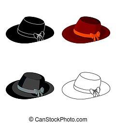 καλοκαίρι , bow., ενήλικος , γυναίκα , καπέλο , κόκκινο , γυναίκεs