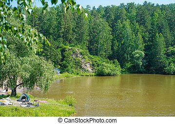 καλοκαίρι , campsite , λίμνη , γεμάτος