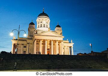 καλοκαίρι , finland., βράδυ , χέλσινκι , χέλσινκι , καθεδρικόs ναόs