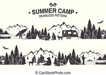 καλοκαίρι , illustration., κατασκηνώνω , pattern., seamless, μικροβιοφορέας