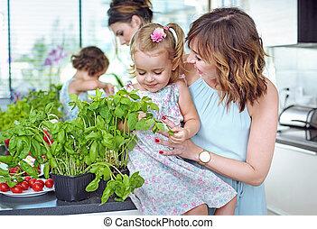 καλοκαίρι , moms , νέος , δικό τουs , αγαπητός , ευφυής , παιδιά , κουζίνα