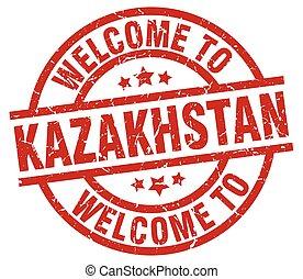 καλωσόρισμα , να , καζακστάν , κόκκινο , γραμματόσημο