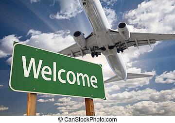 καλωσόρισμα , πράσινο , δρόμος αναχωρώ , και , αεροπλάνο , επάνω
