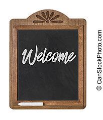 καλωσόρισμα , - , σήμα , chalkboard , φόντο , άσπρο