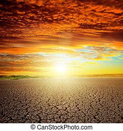 καλός , πάνω , ηλιοβασίλεμα , eart , ξηρασία , κόκκινο