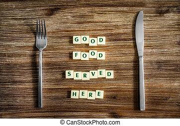 καλό φαγητό , εδώ , σήμα , ασημικά , τραπέζι , υπηρέτησα