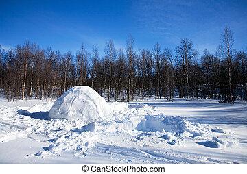 καλύβα εσκιμώων , χειμερινός γραφική εξοχική έκταση