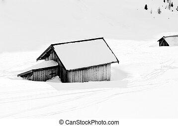 καλύβα , μέσα , ο , χιόνι