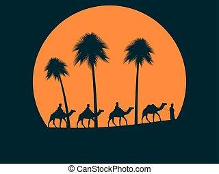 καμήλα , καραβάνι , δέντρα , εναντίον , μικροβιοφορέας , βάγιο , εικόνα , φόντο , sun., sunset.