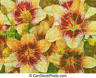 καμβάς , λουλούδια , κρίνο