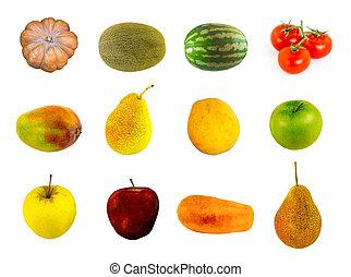 καμβάς , μήλο , ροδάκινο , πρότυπο , φρούτο , λαχανικό , μάνγκο , καρπούζι , φόντο , κεράσι , πεπόνι , άσπρο , ντομάτες , κολοκύθα