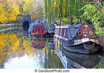 κανάλι , πόλη , islington , δέντρα , λονδίνο , πέφτω , πλωτό σπίτι
