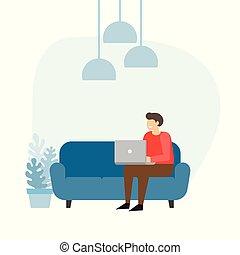 καναπέs , laptop., home., δουλειά , άντραs , επιχειρηματίας