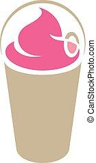 καπάκι , καφέ , frappuccino, απομονωμένος , εικόνα , ροζ ,...