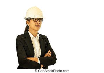 καπέλο , απομονωμένος , γυναίκα , μηχανικόs , άσπρο , σκληρά , κουραστικός , ασιάτης , φόντο.