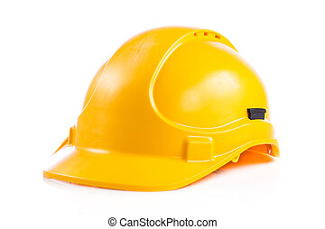 καπέλο , ασφάλεια , απομονωμένος , άσπρο , κίτρινο , κράνος , σκληρά , φόντο.