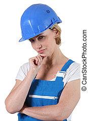 καπέλο , ευρύχωρο εξωτερικό ένδυμα , γυναίκα , σκληρά , σκεπτικός
