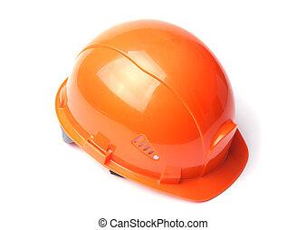καπέλο , σκληρά , απομονωμένος , φόντο. , ασφάλεια , πορτοκάλι , άσπρο , helmet.